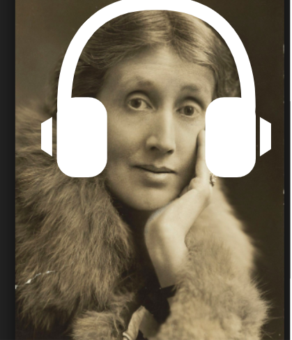 virginia woolf with headphones