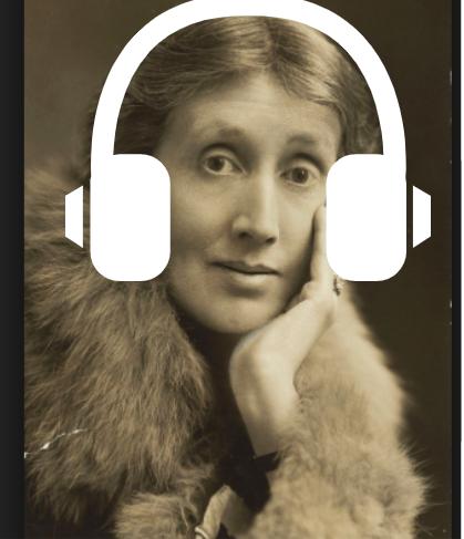 virginia woolf with headphones